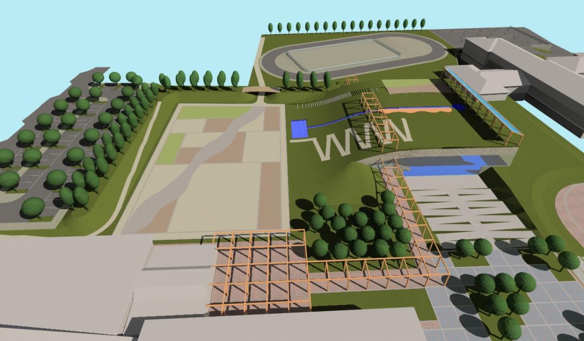 Bellusco (MB) - Concorso d'idee per la riqualificazione del campus scolastico-sportivo - Vista da ovest - arch. Antonio Gonella con arch. Marilena Baggio