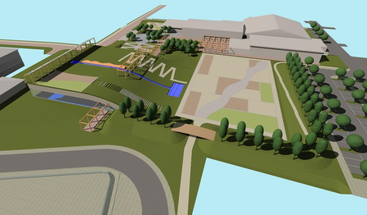 Bellusco (MB) - Concorso d'idee per la riqualificazione del campus scolastico-sportivo - Vista da est - arch. Antonio Gonella con arch. Marilena Baggio