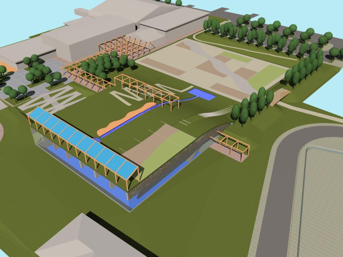 Bellusco (MB) - Concorso d'idee per la riqualificazione del campus scolastico-sportivo - Vista da sud-est - arch. Antonio Gonella con arch. Marilena Baggio