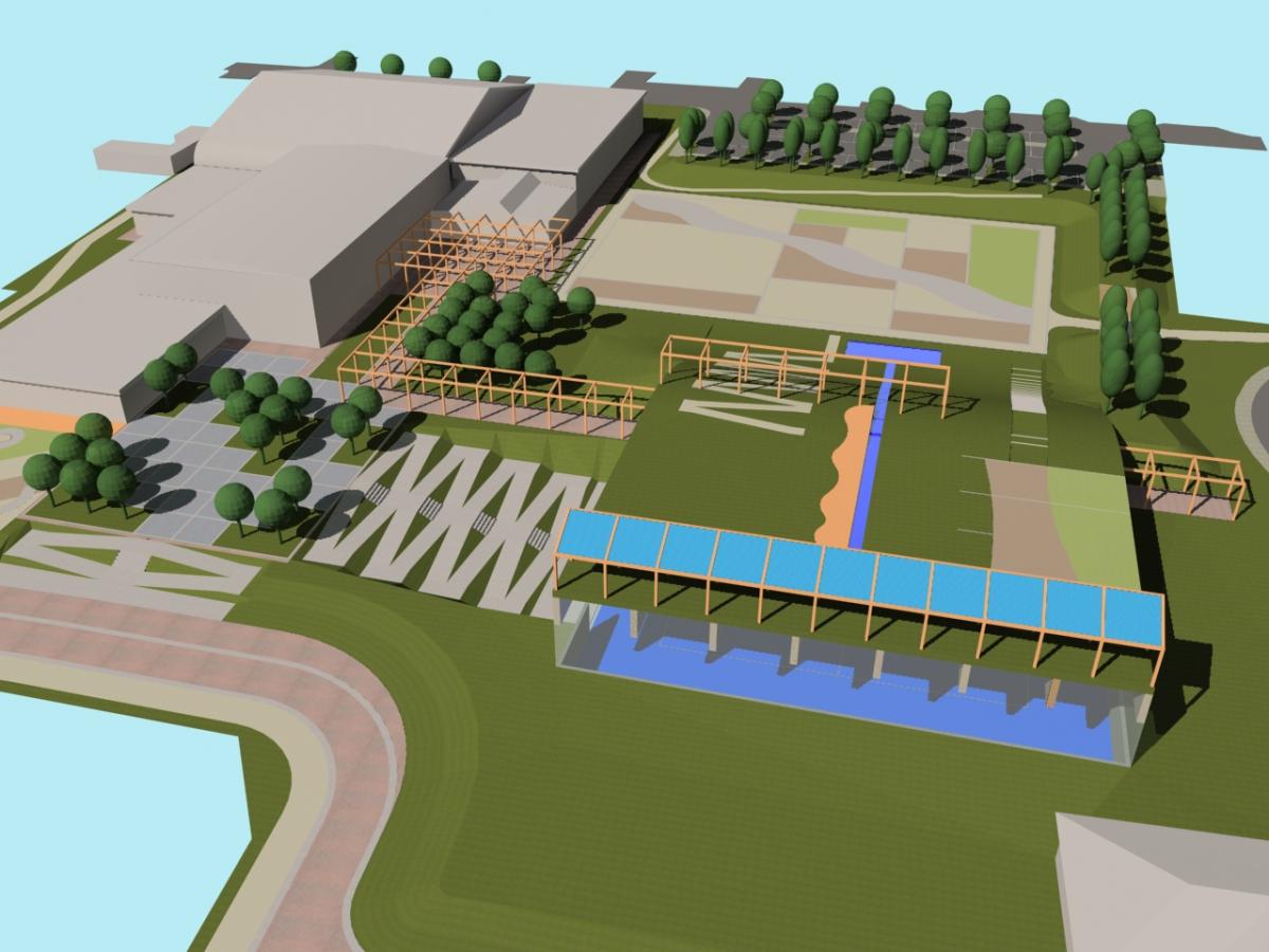 Bellusco (MB) - Concorso d'idee per la riqualificazione del campus scolastico-sportivo - Vista da sud - arch. Antonio Gonella con arch. Marilena Baggio