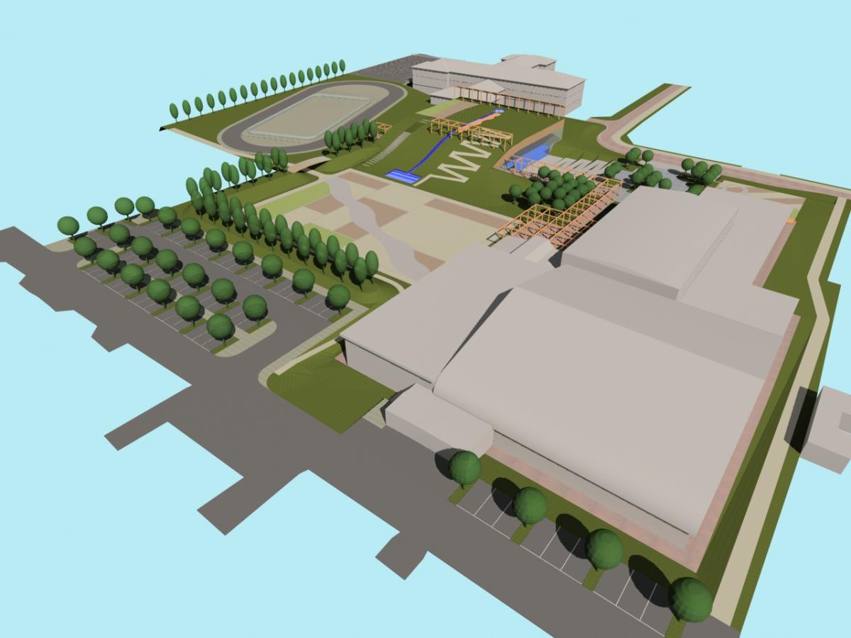 Bellusco (MB) - Concorso d'idee per la riqualificazione del campus scolastico-sportivo - Vista da nord-ovest - arch. Antonio Gonella con arch. Marilena Baggio