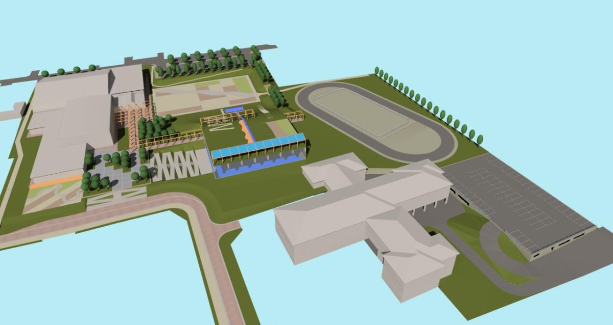 Bellusco (MB) - Concorso d'idee per la riqualificazione del campus scolastico-sportivo - Vista da sud-ovest - arch. Antonio Gonella con arch. Marilena Baggio