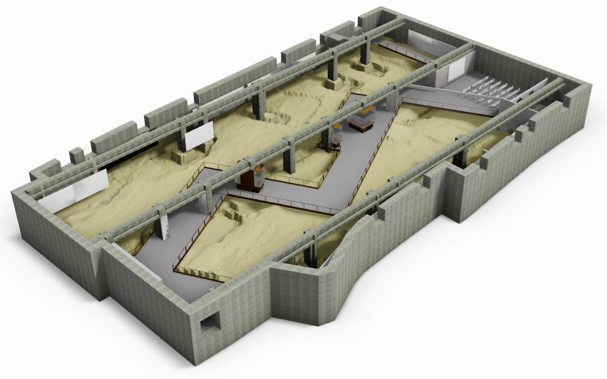 Musealizzazione area archeologica - Casazza (BG) - Vista assonometrica piano interrato